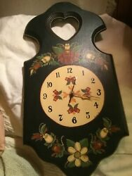Wooden Wall Clock Floral Design country cottage.Decor Hand Painted 10.5x21x 2""