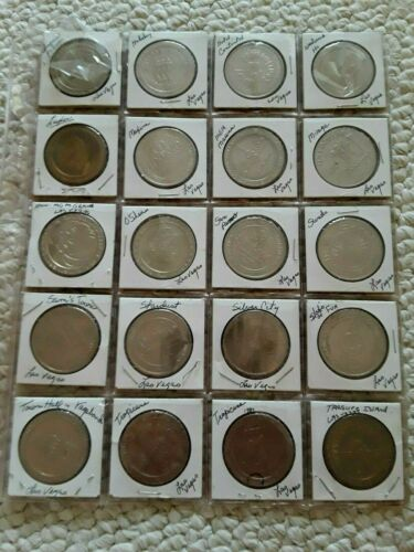 Lot of 20 Las Vegas 1980 & 1990 Gaming Tokens, all Different $1 Casino Tokens