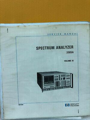 Hp Agilent 03585-90006 3585a Spectrum Analyzer Service Manual Vol. Iii