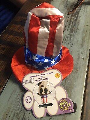Patriotic Dog Hallowen Costume Stars A Stripes Uncle Sam Hat Pet Shop M/L - Hallowen Shop