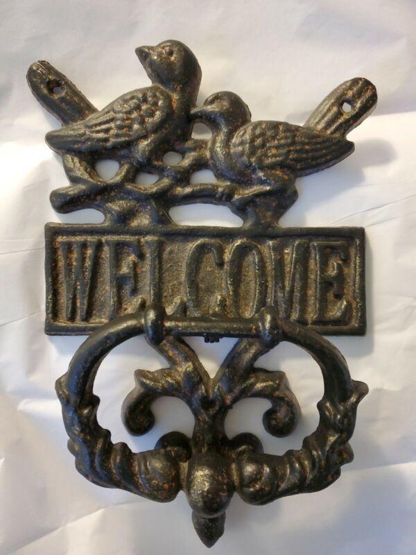 Cast Iron Welcome Birds Door Knocker