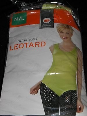 Halloween Costume Adult Lime Green Leotard M/L Medium Large Solid Tinkerbell