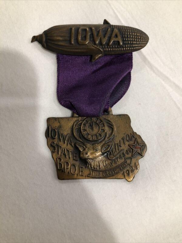 1924 Iowa Elks BPOE State Association Clinton, Iowa IA Medal, Pin & Ribbon
