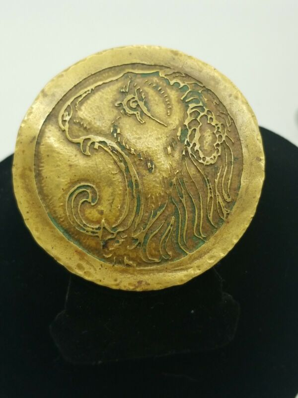 Vintage FROST Brass Lion Brooch/medallion,hand Hammered, abstract,patina