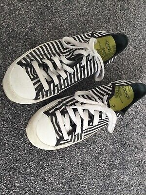 Kate Spade Saturday black white cotton lace up sneakers UK 6