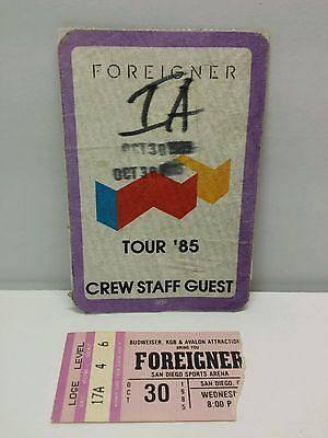 Foreigner 1985 San Diego Sports Arena Concert Ticket Stub & Backstage Pass