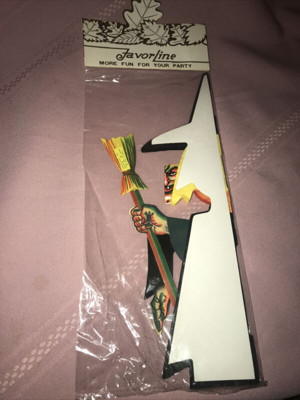 1961 FavorLine Paper Tissue Honeycomb Witch Stand Up NOS Sealed!