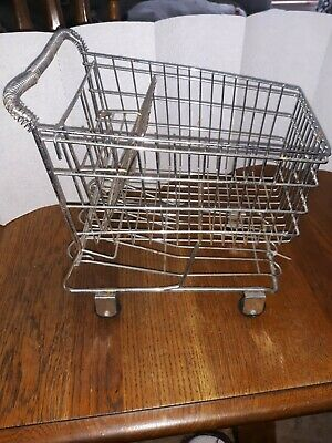 Mini Chrome Shopping Cart Metal Basket Display