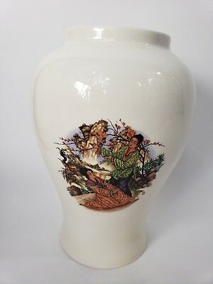 Japanese Vintage Oriental Ceramic Vase 10 Inch X 6 Inch Asian Home Decor Signed