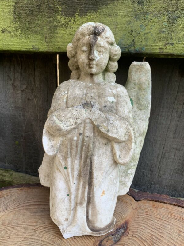ANTIQUE Victorian CARVED MARBLE ANGEL fragment segment church grave bury chapel
