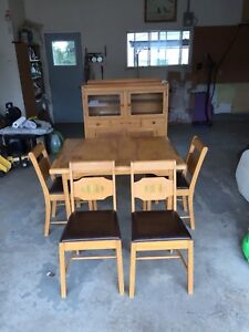 Antique hutch, table and chairs.