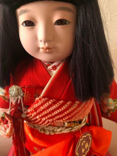 Vintage Japanese ichimatsu doll 17.7 inches Beautiful face 久月 本頭 kimono Japan j
