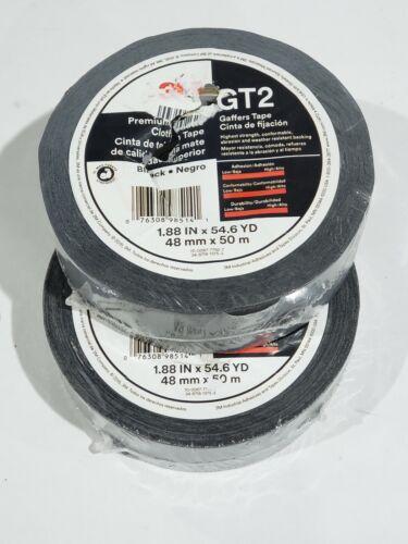 3M 1.88 in. x 54.6 yds. Black Premium Matte Cloth Gaffers Tape (lot of 2) GT2