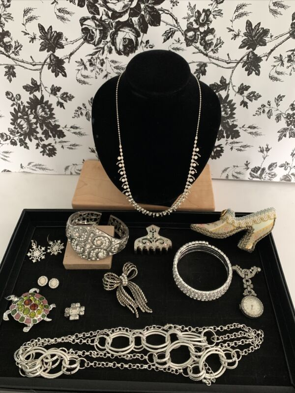 Grandma's Antique Marcasite Jewelry Brooches,  Pins, Bracelets, Hair Pin, & More