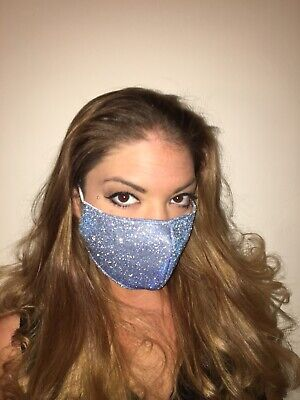 Face Mask Blue Glitter Protective, breathable, gorgeous bling comfortable