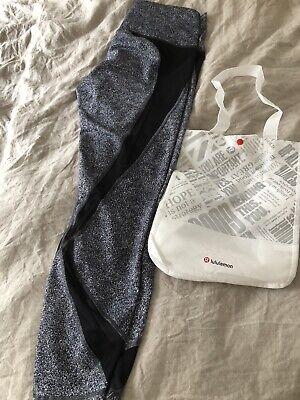 Lululemon Mesh Leggings Yoga 16 Black White 7/8 Length With Bag