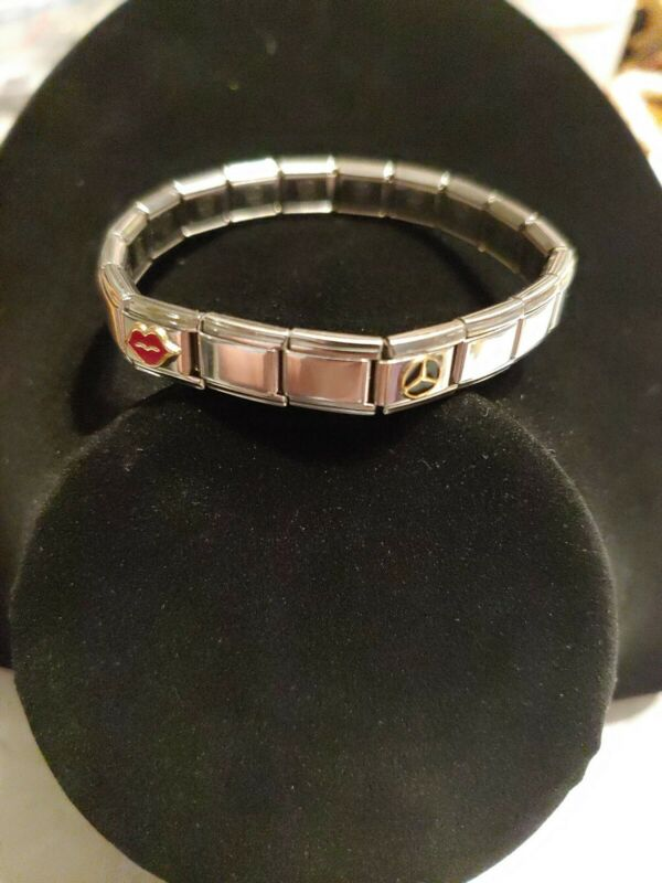 UD Italy Stainless Steel Square Charm link Bracelet preowned