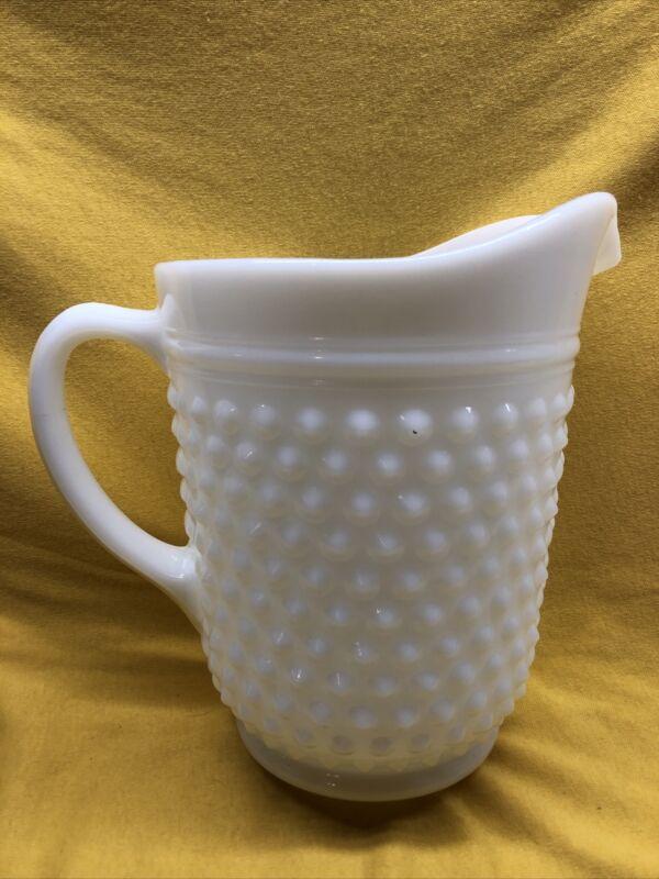 "Vintage Glassware Hobnail Milk White Glass Pitcher 8"" Tall"