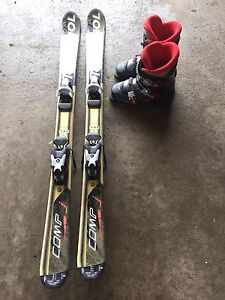 Kid's Downhill Skis Size 120 and Boots Size 22.0 for Kid's