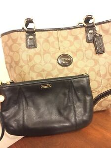 Real coach purse and matching coach wristlet