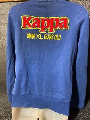 Vtg Kappa blue zip up hoodie jacket Velvet Embroidery Omni Xl Years Old Sz L