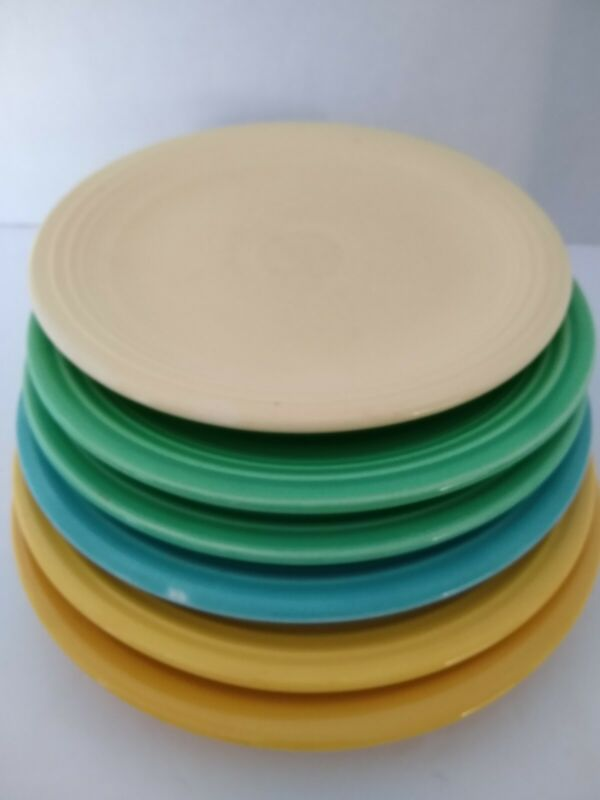 "Set of 6 Genuine 7-1/2"" FIESTA Ware H.L.O. Salad Plate Vtg 30"