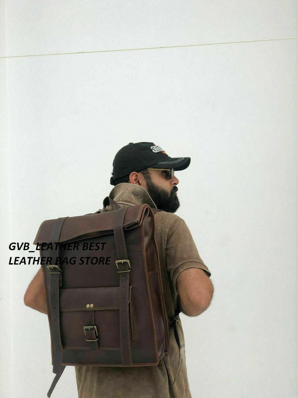men s laptop rucksack bag leather messenger