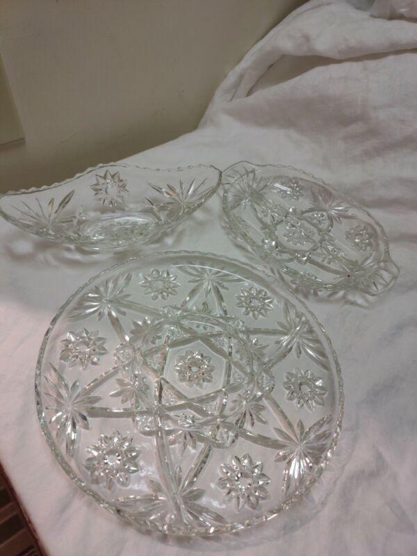 Vintage Star Cut Glass Serving Set