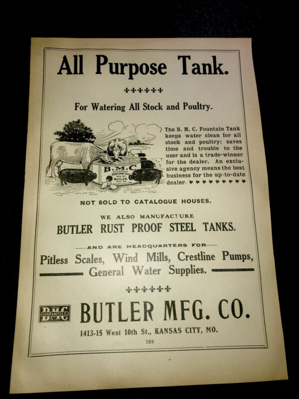 1908 Butler Steel Tanks Farm Advertising - Kansas City - Missouri