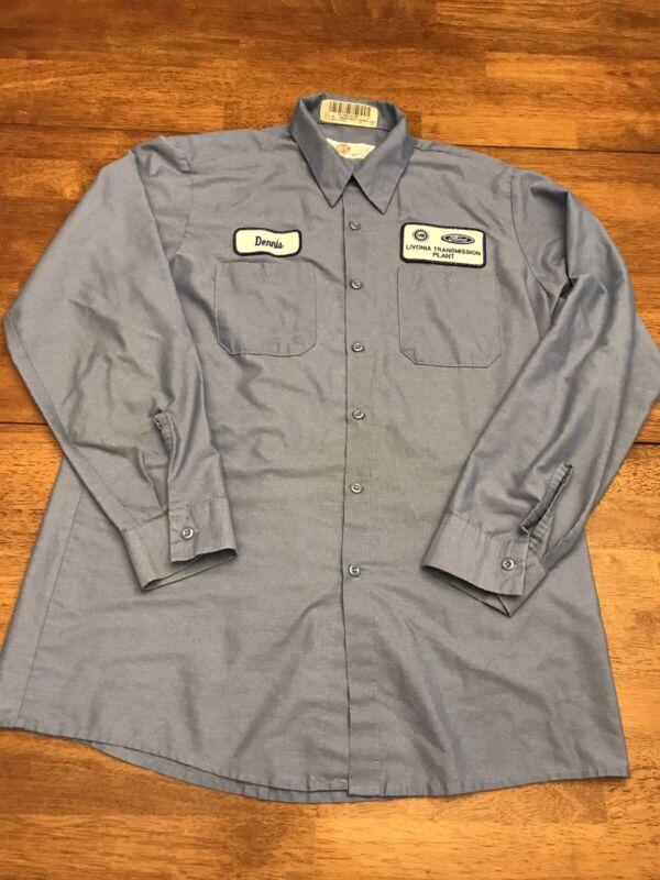 Ford Employee Uniform Work Shirt Livonia Transmission Size Large , Color Blue