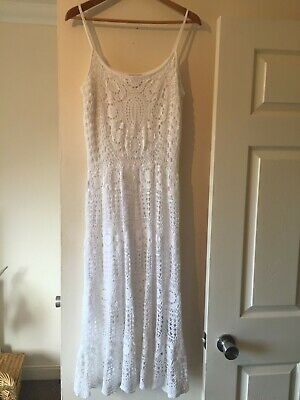 white crochet dress Vintage Laura Ashley 14