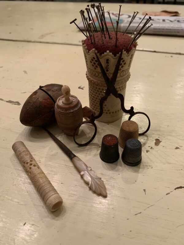 Group Of Early 1800's Sewing Thimbles, Pin Cushin , Plus Other Stuff From Estate
