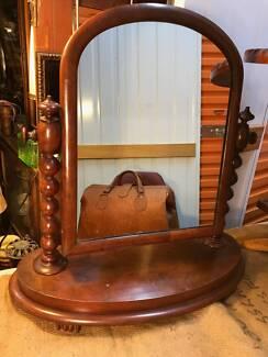 Antique Victorian English Walnut Swing Mirror Bobbin Reel Support