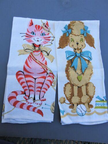 PAIR 1950s Anthropomorphic Cat & Poodle Parisian Prints Linen Tea Towels Vintage