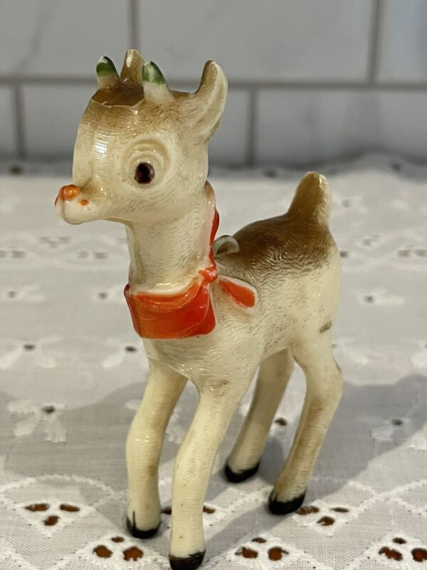 """Vintage Ornament Rudolph The Red Nosed Reindeer Hard Plastic 3 1/2""""H 1950s 60s"""