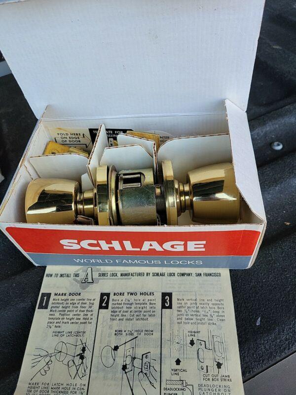 SCHLAGE A52WD TUL 605 A  Cylindrical Entrance Lock Tulip Knob NEW NOS BOX KEYS
