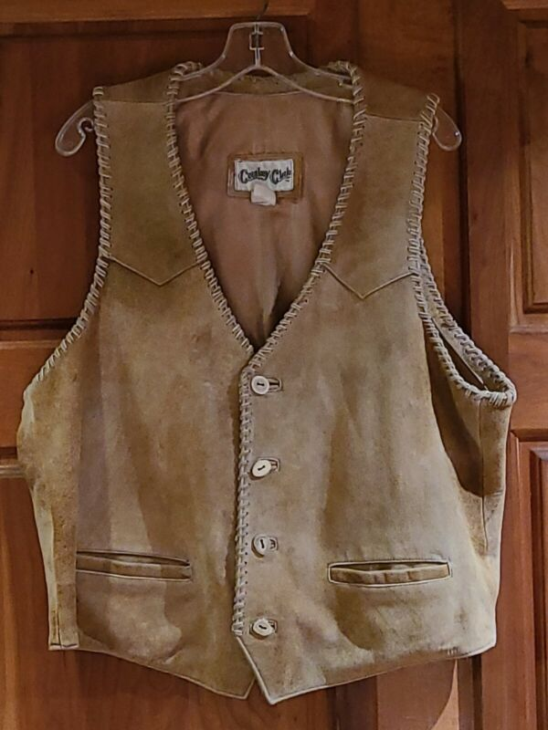 Vintage COWBOY CLUB Western Americana Leather Vest Bone Buttons Men L 46 Chest