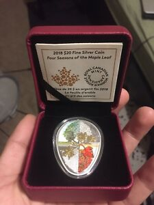 2018 $20 Fine Silver Coin Four seasons of the maple leaf