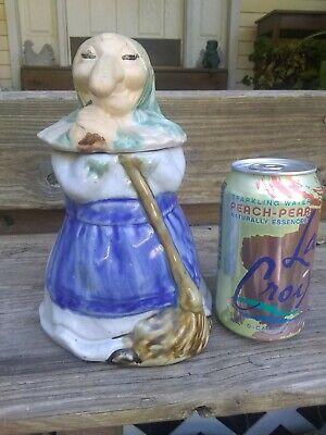 Vintage Good Luck Kitchen Witch Ceramic Cookie Jar