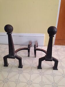 Large Vintage Cast Iron Andirons, Great Atomic Look