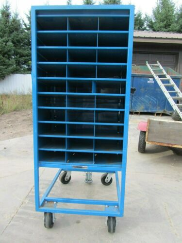 60 PIGEON HOLE (2 SIDED) ROLLING HARDWARE SERVICE CART, USED GOOD CONDITION.
