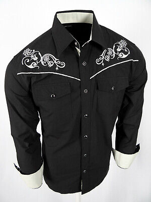 Mens Western Rodeo Cowboy Shirt Black Embroidered with Floral Shoulders Snap Up Embroidered Black Western Shirt