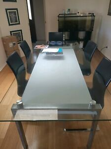Dual level glass dining table & 6 chairs