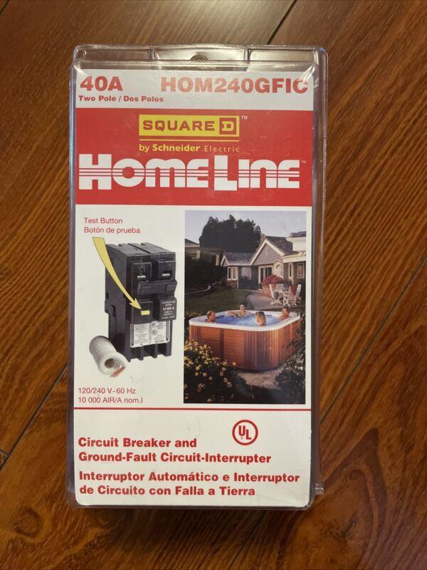 Square D Homeline HOM240GFIC 40 Amp 2-Pole GFCI Circuit Breaker NEW