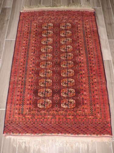 4x7ft. Antique Turkoman Bokharra Wool Rug