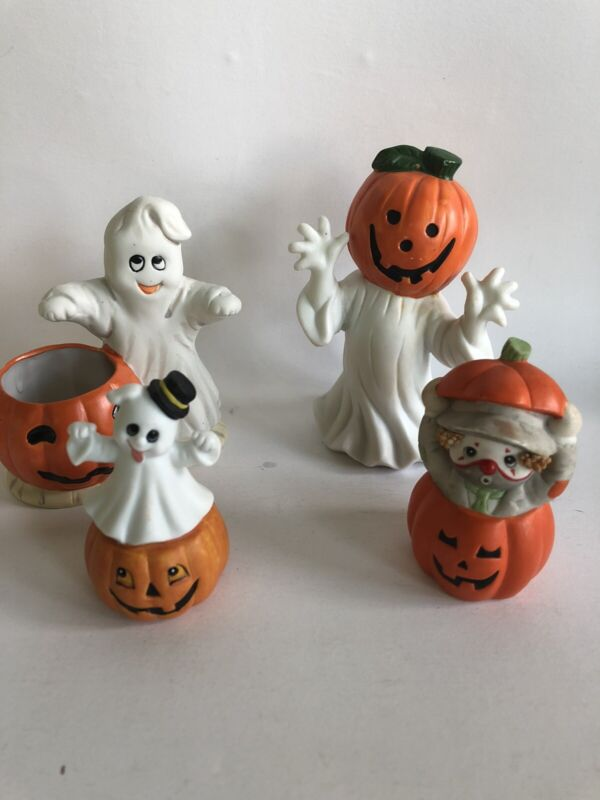 4 Halloween Decor Lot Ceramic Ghost Pumpkins Votive Holder CUTE figures Clown
