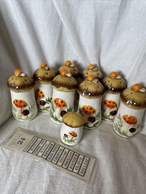 Vintage Merry Mushroom Set Of 8 Spice Jars Sears Japan With Bonus