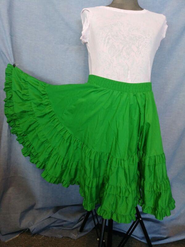 Malco Modes Green Square Dance Skirt Med Ruffle Elastic Waist Costume