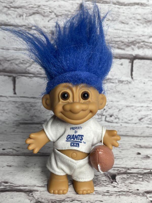 Russ NFL Property Of New York NY Giants XXL Troll Doll Blue Hair