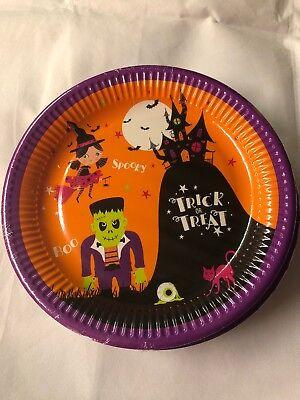 8x Tesco Halloween Party Plates Trick Or Treat Spooky Frankenstein 23cm
